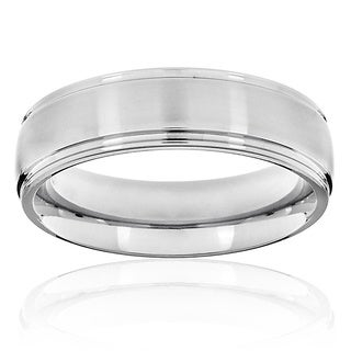West Coast Jewelry Grooved Brushed and Polished Titanium Ring