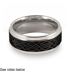 Men's Tungsten Two-Tone Lasered Celtic Knot Ring (9 mm)
