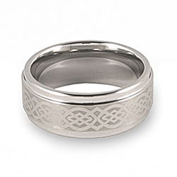 Crucible Men's Tungsten Lasered Celtic Knot Ring (9 mm)