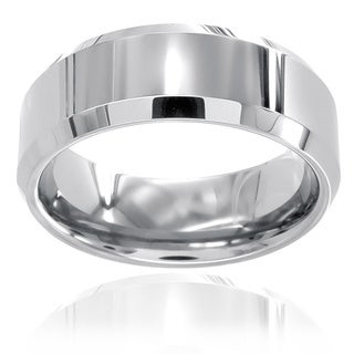 Men's Tungsten Polished Beveled Edge Band (8 mm)