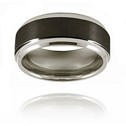 Men's Tungsten Ridged Edge Black-plated Band (9 mm)