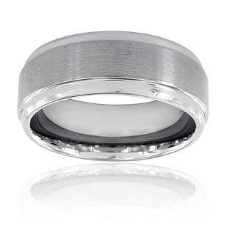 Men's Brushed and Polished Ridged Edge Tungsten Band (9 mm)