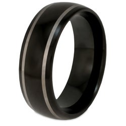 Men's Tungsten Black-plated Carbide Laser Line Band (7.7 mm)