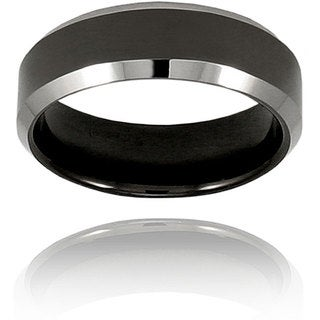 Men's Tungsten Two-tone Black-plated Band (7 mm)