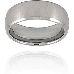 Men's Tungsten Domed, Brushed, Beveled Edge Band (8 mm)