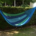 Magical Isle Outdoor Beach Pool Garden Patio Cobalt Blue Green Stripe Durable Handmade Rope Style Nylon Double Hammock (Mexico)