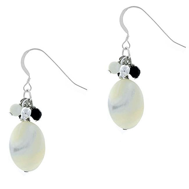 Glitzy Rocks Sterling Silver Mother of Pearl and Onyx Earrings