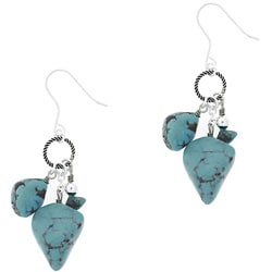 Glitzy Rocks Sterling Silver Turquoise Nugget Dangle Earrings