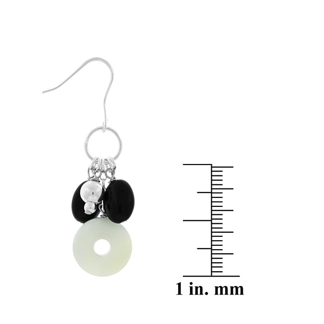 Glitzy Rocks Sterling Silver Onyx and Mother of Pearl Earrings