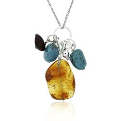 Glitzy Rocks Sterling Silver Amber and Turquoise Cluster Necklace