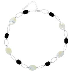 Glitzy Rocks Sterling Silver Mother of Pearl and Onyx Link Necklace