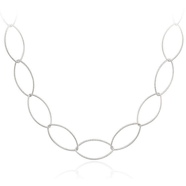 Mondevio Sterling Silver Polished Interlocking Open-link Necklace