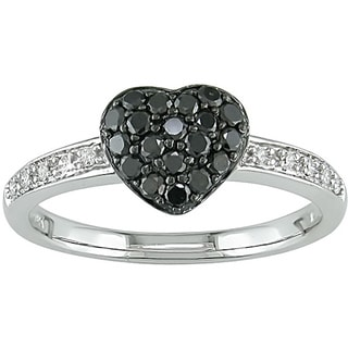 Miadora 10k Gold Black and White Diamond Pave Heart Ring
