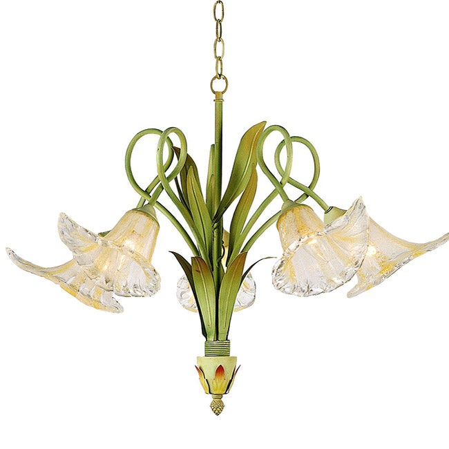 Hand-blown Glass 5-light Iron Floral Chandelier