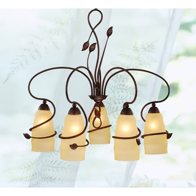 Iron 5-light Mahogany Chandelier
