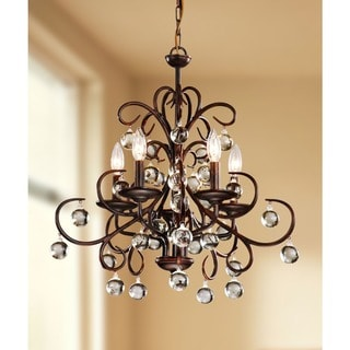 Wrought Iron and Crystal 5-light Chandelier
