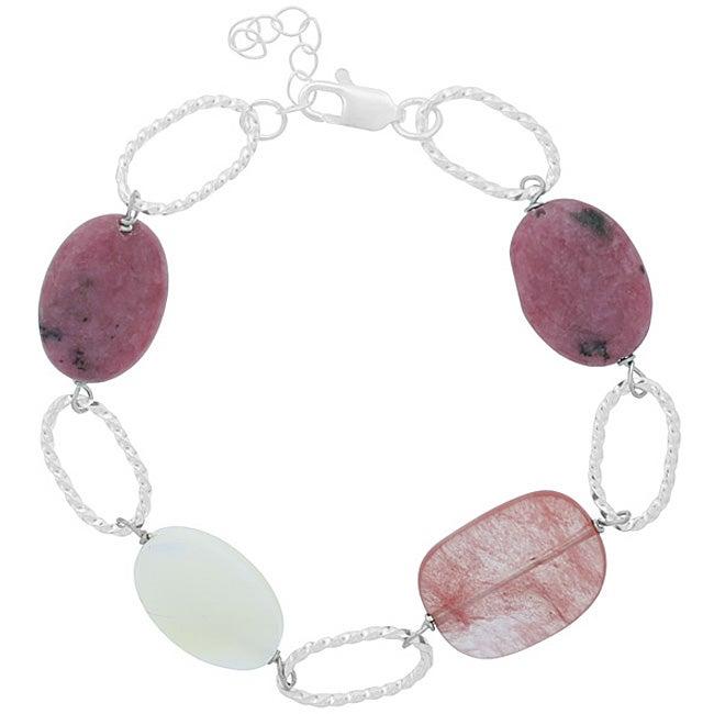 Glitzy Rocks Sterling Silver Quartz Mother of Pearl Bracelet