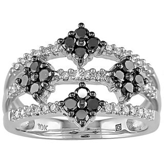 Miadora 10k White Gold  Black and White Diamond Ring