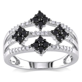Miadora 10k White Gold  Black and White Diamond Ring