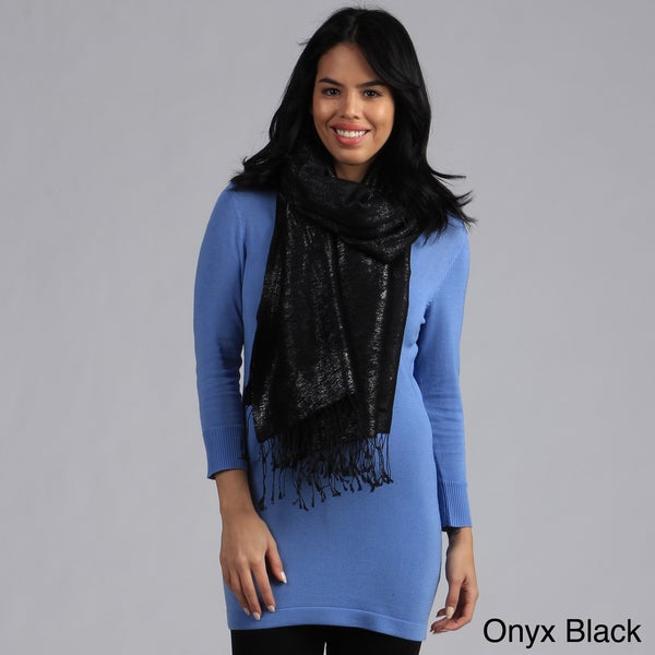Hand-Woven Cashmere Silk Blend Metallic Shawl