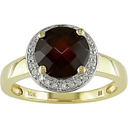 Miadora 10k Yellow Gold Garnet and Diamond Ring