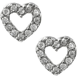 Journee Collection Sterling Silver Pave Heart Earrings