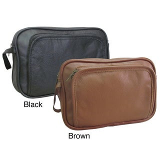 Amerileather Genuine Top Grain Cowhide Leather Travel Toiletry Bag