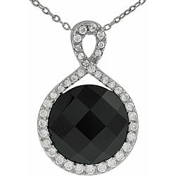 Tressa Sterling Silver Black Onyx and CZ Necklace