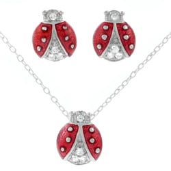 Tressa Sterling Silver CZ Ladybug Necklace and Earring Set