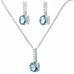 Journee Sterling Silver Aqua CZ Necklace and Earring Set