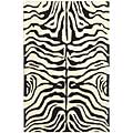 Handmade Soho Zebra Ivory/ Black New Zealand Wool Rug (3'6 x 5'6)