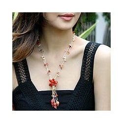 Stainless Steel Carnelian and Freshwater Pearl Necklace (5 mm) (Thailand)
