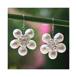 Sterling Silver Pearl 'Jasmine Garland' Earrings (3-10 mm) (Thailand)