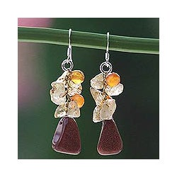 Sterling Silver Quartz and Carnelian 'Bouquet' Earrings (Thailand)