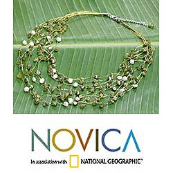 Brass Peridot and Pearl 'Cool Shower' Necklace (5 mm) (Thailand)
