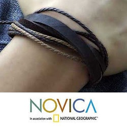 Genuine Leather 'Brown Riddles' Bracelet (Thailand)