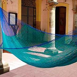 Hand-woven 'Cool Lagoon' Hammock (Mexico)