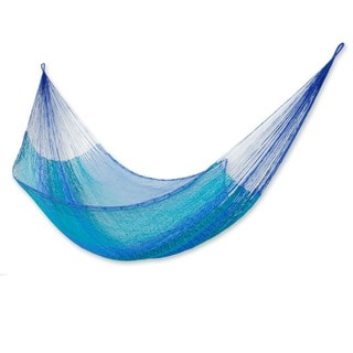 Cool Lagoon Outdoor Beach Garden Patio Pool Turquoise and Blue Stripe Handmade Knotted Rope Style Nylon Single Hammock (Mexico)