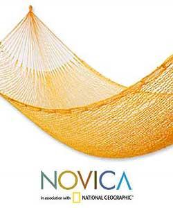 Hand-woven 'Orange Sonata' Hammock (Mexico)