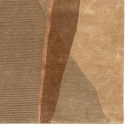 Hand-knotted Brown Contemporary Soldeu Collection Wool Abstract Rug (5' x 8')