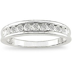Miadora 14k White Gold 1/2ct TDW Round Channel Set Diamond Band (H-I, I1-I2)