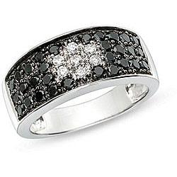 Miadora 14k Gold 1ct TDW Black and White Diamond Ring (HJ, I1-I2)