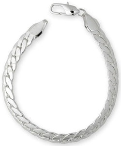 Simon Frank 14k White Gold Overlay 8-inch Tight Cuban Bracelet