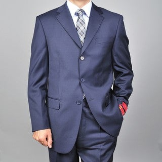 Mantoni Red Labeled Men's Navy 3-button Wool Suit