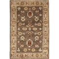Hand-knotted Green Southwestern Park Ave New Zealand Wool Rug (5'6 x 8'6)