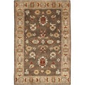 Hand-knotted Brown Southwestern Park Ave New Zealand Wool Rug (5'6 x 8'6)