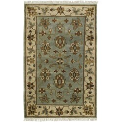 Hand-knotted Light Blue Southwestern Park Ave New Zealand Wool Rug (5'6 x 8'6)