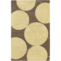 Hand-tufted Brown Contemporary Circles Vougue New Zealand Wool Geometric Rug (8' x 11')