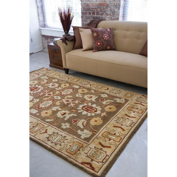 Hand-knotted Brown Southwestern Park Ave New Zealand Wool Rug (9' x 13')