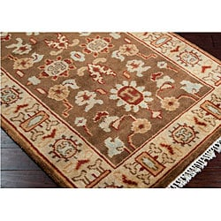 Hand-knotted Green Southwestern Park Ave New Zealand Wool Rug (9' x 13')